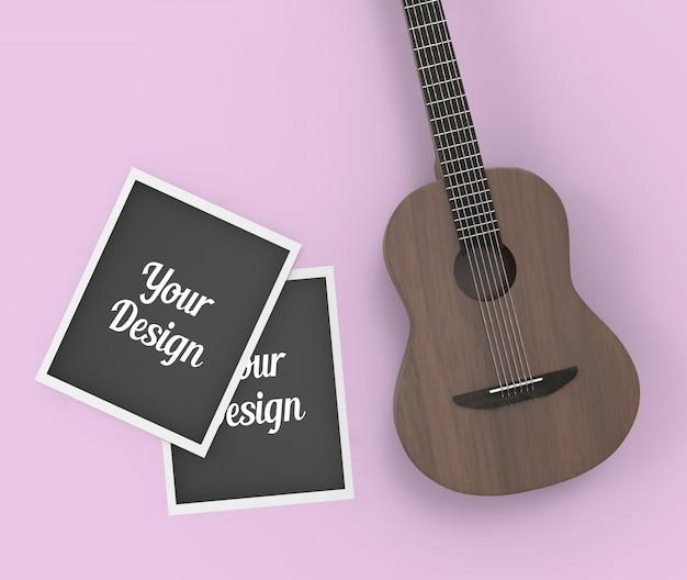 Photo frames and guitar mockup