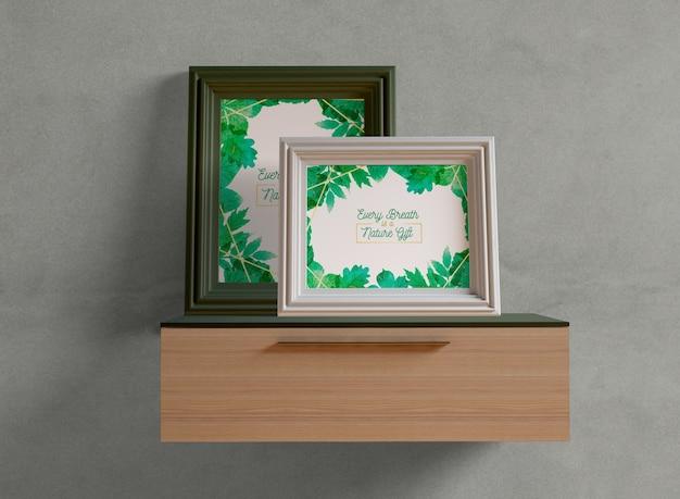 Photo frames mock-up on shelf