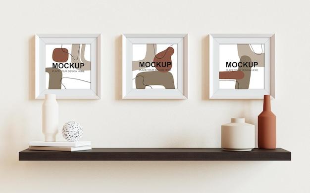 Photo frames mockup 3d rendering