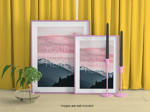 Photo frames mockup on curtains
