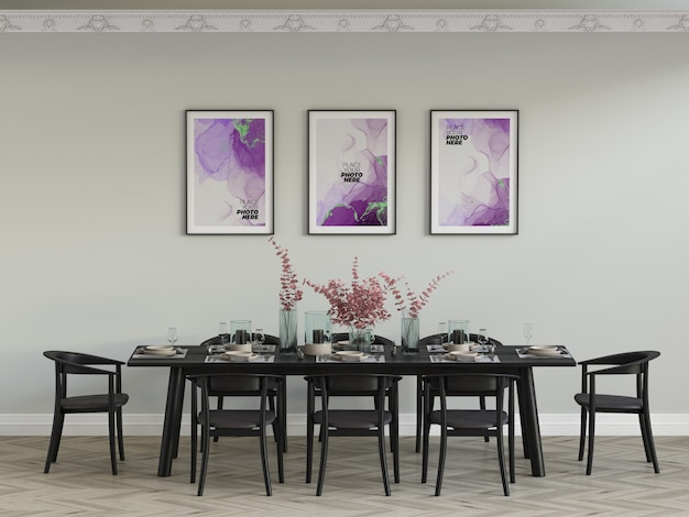 Photo frames mockup in dining room