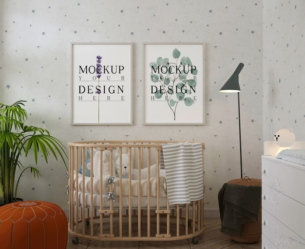 현대 아기 방의 사진 프레임 모형