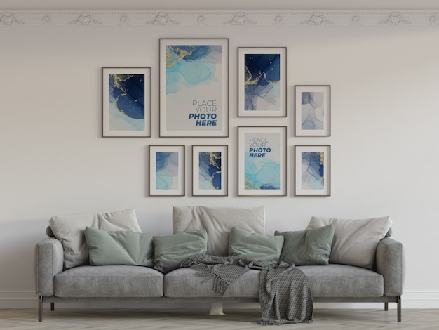 Photo frames mockup in living room