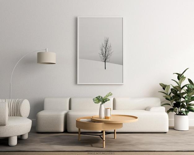 벽에 사진 프레임 모형