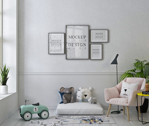 Photo frames mockup in white playroom with pink armchair