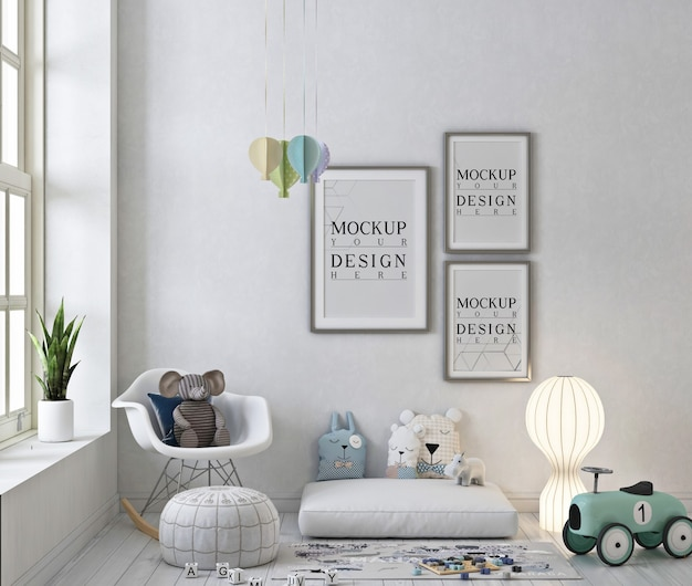 Photo frames mockup in  white playroom with rocking chair