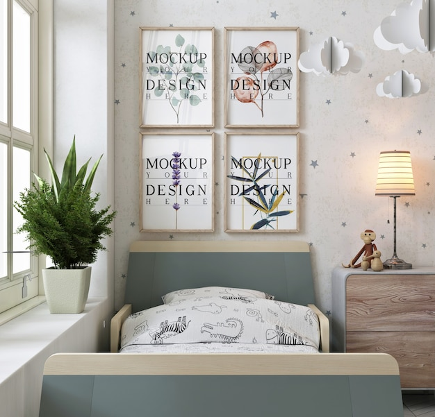 Photo frames on wall in modern and wahite kids bedroom