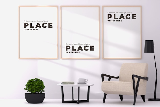 Photo image frame 3 frames 3d design interior window shadow mockup