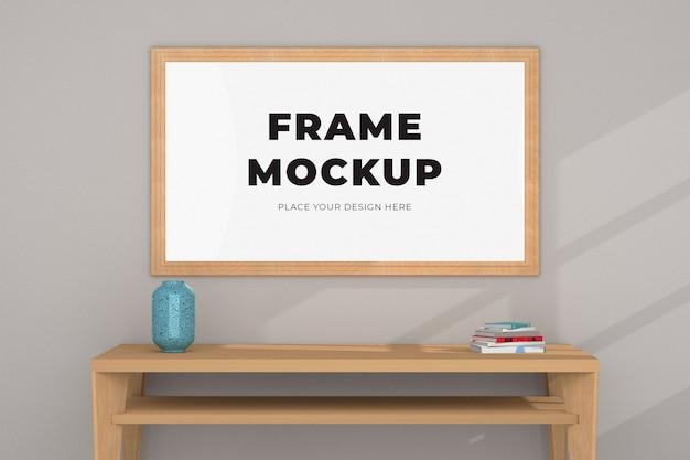 机の上の写真画像フレームモックアップ