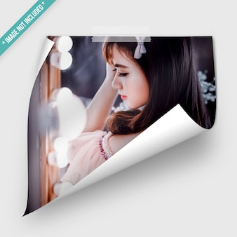Photo mockup with roll effect