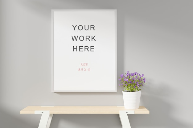 Photo or poster frame mockup 3d rendering