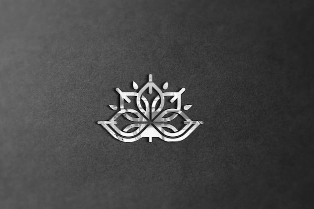사진 현실적인 3d 흰색 로고 모형