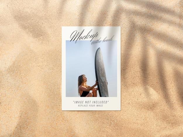 Photo on sand beach mockup rendering