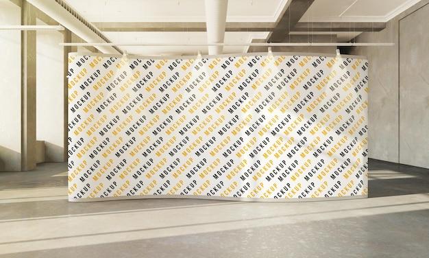 3d 렌더링 콘크리트 홀 인테리어에 photocall 모형 디자인