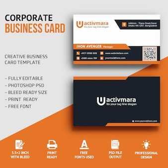 Photograph business card premium psd