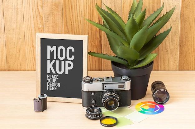 Disposizione del mock-up del workshop del fotografo