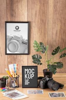 Photographer workshop with frame mock-up arrangement
