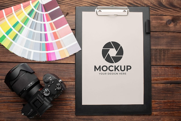 Photographer workshop with mock-up clipboard
