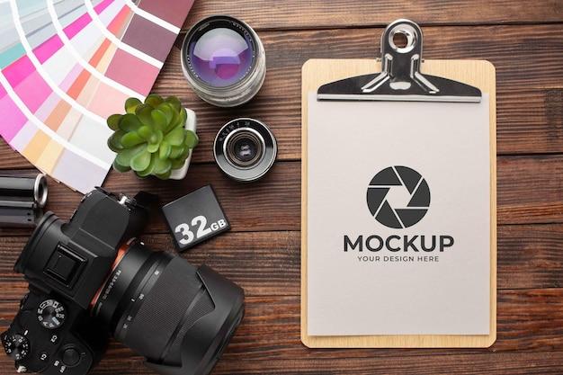 Мастерская фотографа с макетом буфера обмена