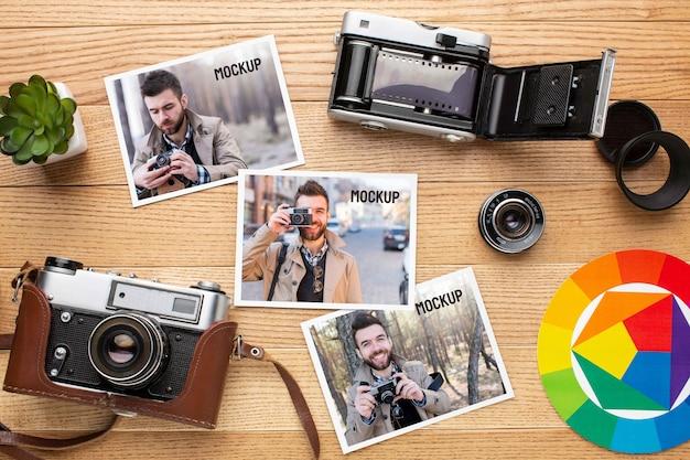 写真のモックアップの品揃えと写真家のワークショップ