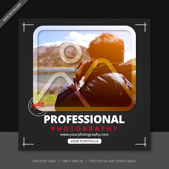 Photographers social media post and facebook banner template
