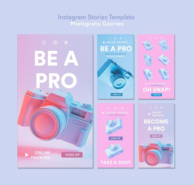 Photography concept instagram stories template