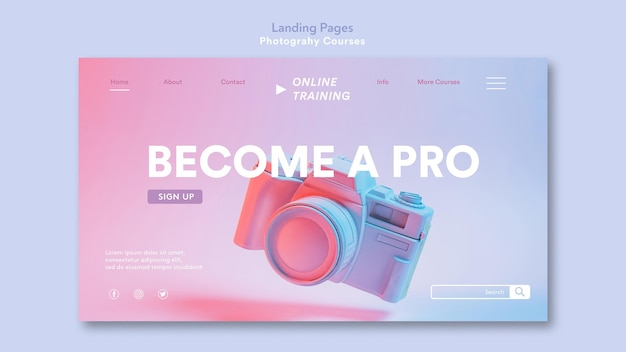 Photography concept landing page template