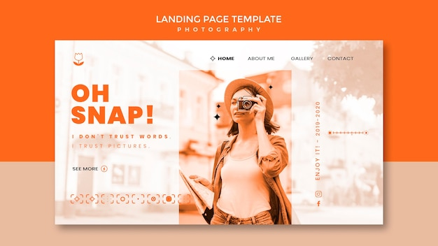 Photography landing page template