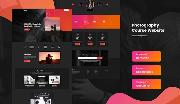 Photography online course landing page website template in dark mode
