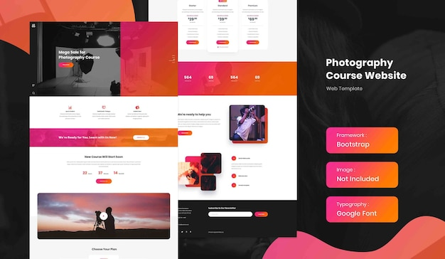 Photography online course landing page website template