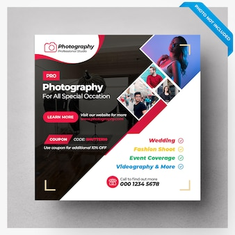 Photography social media banner template