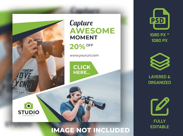 Photography social media post banner design  template psd