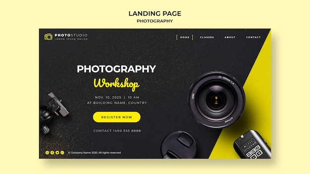 Photography workshop landing page template