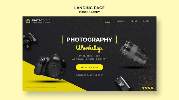 Photography workshop template landing page