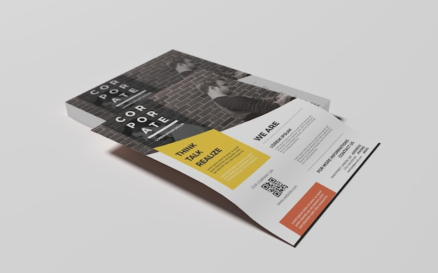 Photorealistic a4 flyer mock-ups