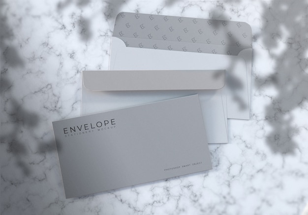 Photorealistic envelope mockup with marble texture background