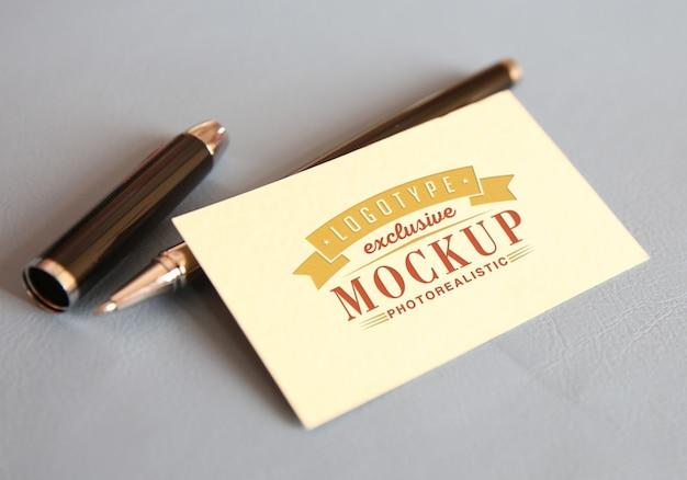 Photorealistic logotype mockup in vintage style