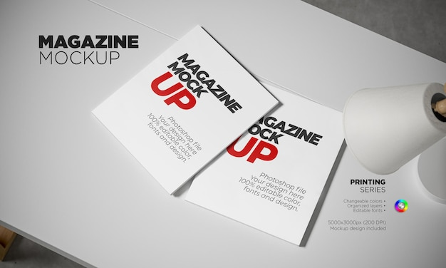 Photorealistic magazine template in 3d rendering