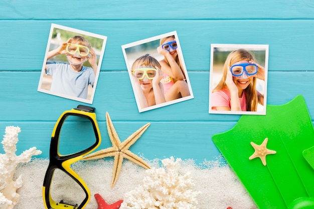 Photos collection on wooden background
