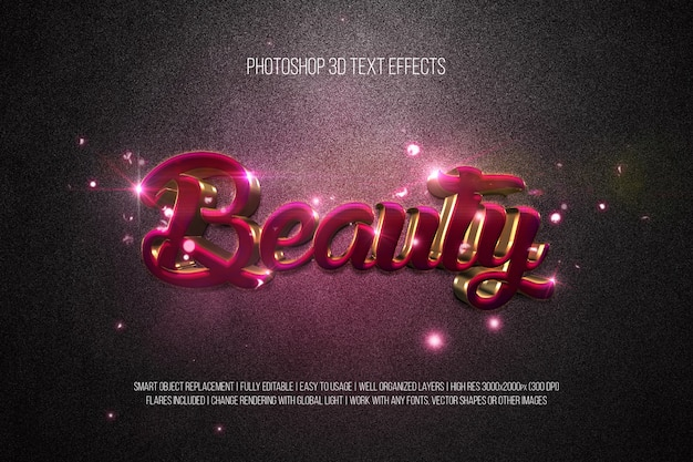 Photoshop 3d text effects beauty