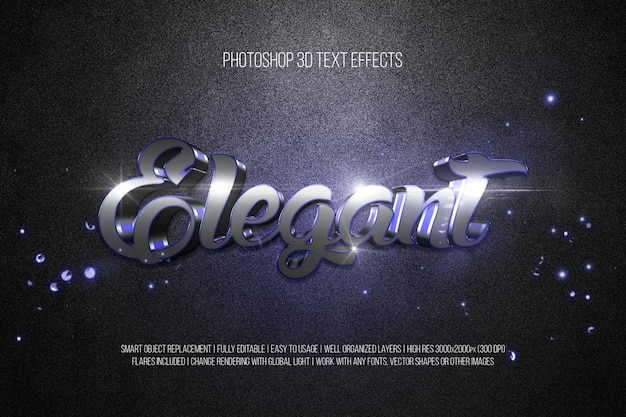 Photoshop 3d text effects elegant