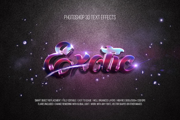 Photoshop 3d text effects exotic
