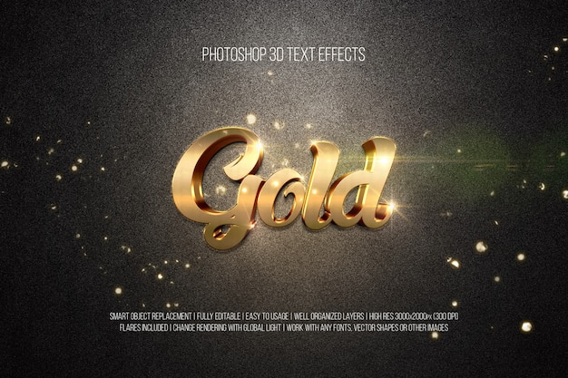 Photoshop 3d text effects gold