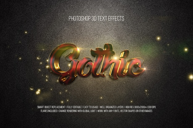 Photoshop 3d text effects gothic