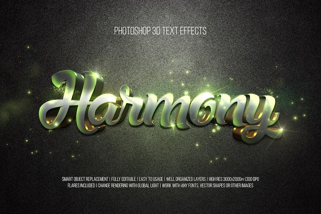 Photoshop 3d text effects harmony
