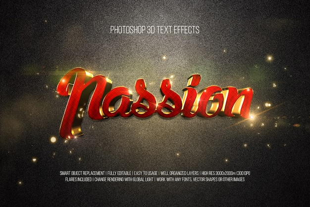 Photoshop 3d textエフェクトpassion