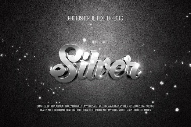 Photoshop 3d text effects silver