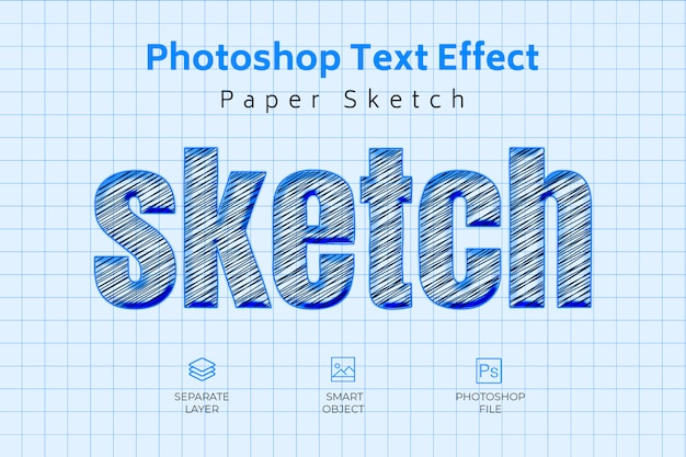 Photoshop paper sketchテキスト効果