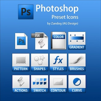 Psd photoshop icone predefinite