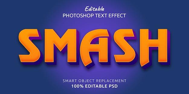 編集可能なphotoshopのテキストスタイル効果のスマッシュ